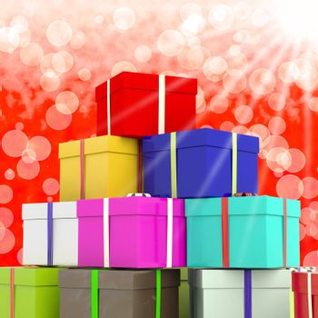 Multicolored Giftboxes  With Bokeh Background As Presents For Family