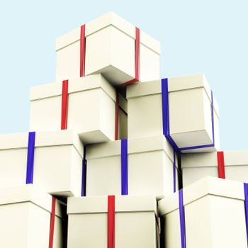 Stack Of Giftboxes With Sky Background As Presents For Family