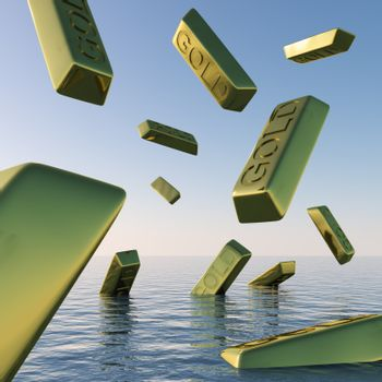 Gold Bars Falling Showing Depression Recession And Economic Downturns