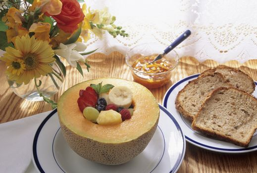Healthy breakfast with fruit and toast