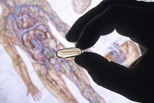 Hand silhouette with Pill