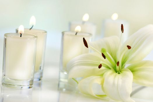 Lily flower with candle