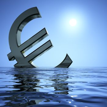 Euro Sinking In The Sea Showing Depression Recession And Economic Downturns