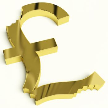 Pound With Bite Showing Devaluation Economic Crisis And Recessions