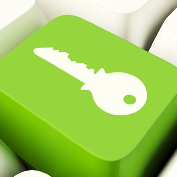 Key Computer Button Green Showing Security And Protection