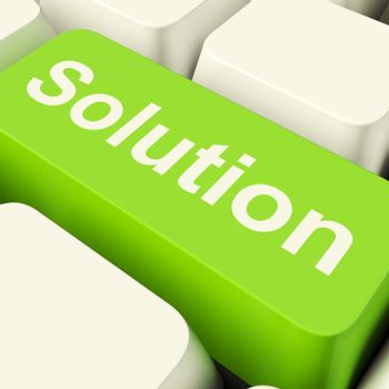 Solution Computer Key In Green Showing Success And Strategy