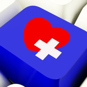 Heart And Cross Computer Key Blue Showing Emergency Assistance