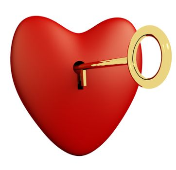 Heart With Key And White Background Showing Love Romance And Valentine