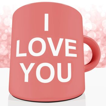 I Love You Mug With Bokeh Background Showing Romance And Valentine