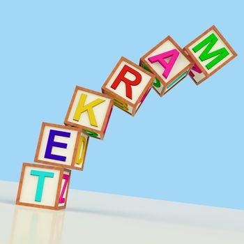 Market Blocks Showing Sales Marketing And Retailing