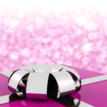 Pink Giftbox With Bokeh Background For Womans Birthday