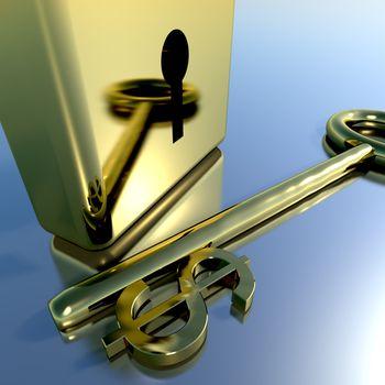 Dollar Key With Gold Padlock Showing Banking Savings And Finances