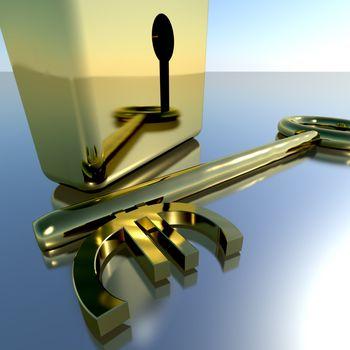 Euro Key With Gold Padlock Showing Banking Savings And Finances