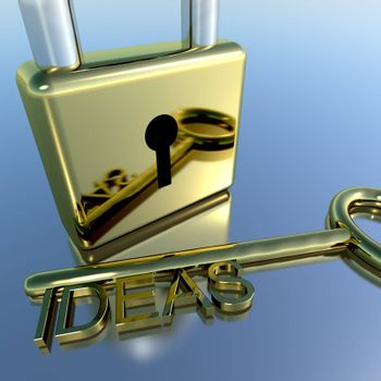 Padlock With Ideas Key Showing Improvement Concepts And Creativness