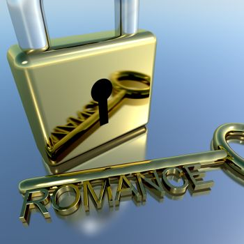 Padlock With Romance Key Showing Love Valentines Or Lovers