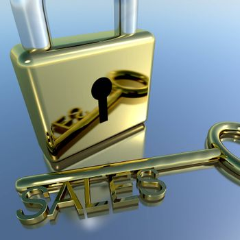 Padlock With Sales Key Showing Selling Marketing Or Commerce