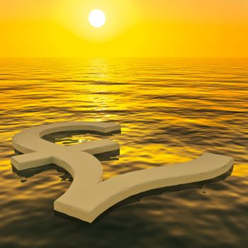 Pound Floating And Sunset Showing Money Wealth Or Earning