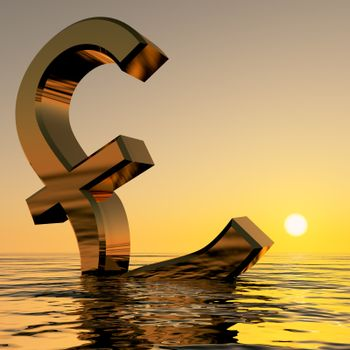 Pound Sinking In The Ocean Showing Depression Recession And Economic Downturns