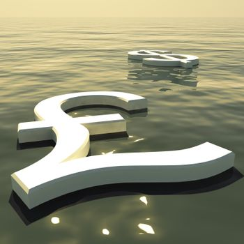 Pound Floating And Dollar Going Away Showing Money Exchange And Forex