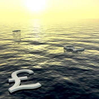 Pounds Floating To A Sunset Showing Money Wealth Or Earning