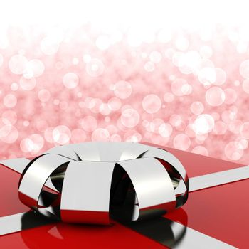 Red Giftbox With Bokeh Background For Womans Birthday
