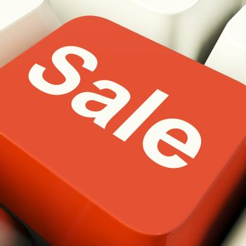 Sale Computer Key Showing Promotion Discount And Reductions