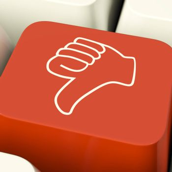 Thumbs Down Icon Computer Key Showing Dislike Failure Or False