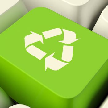 Recycle Computer Key In Green Showing Recycling Or Eco Friendly