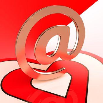 Heart E-mail Showing Romance Through Internet Message