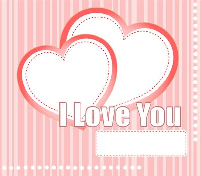 valentines hearts two shapes on pink pattern background. I love you