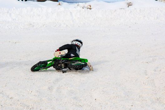 Winter Motocross competitions among children