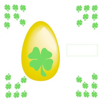 Easter egg with symbol irish on the green background