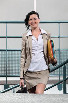 Businesswoman arriving to work