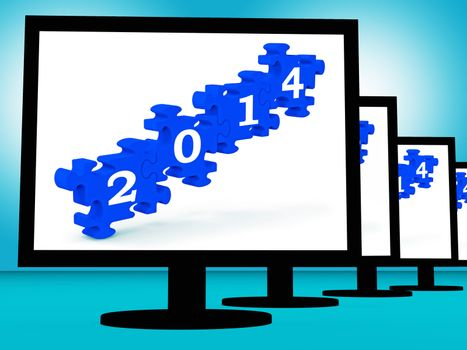 2014 On Monitors Shows Future Calendar Or Festivities
