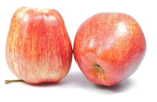 Two red apples on white backround