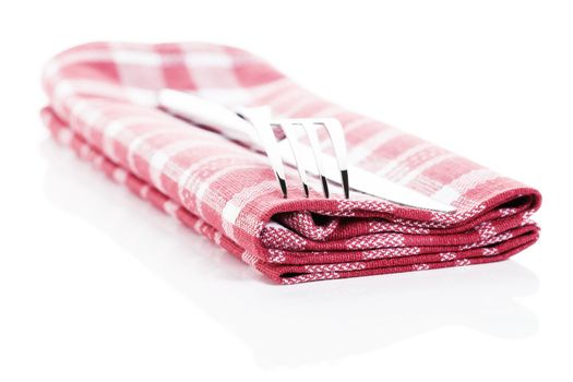 cutlery on a towel