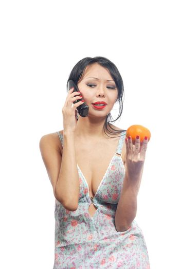 Young woman making consultation via telephone about dietary