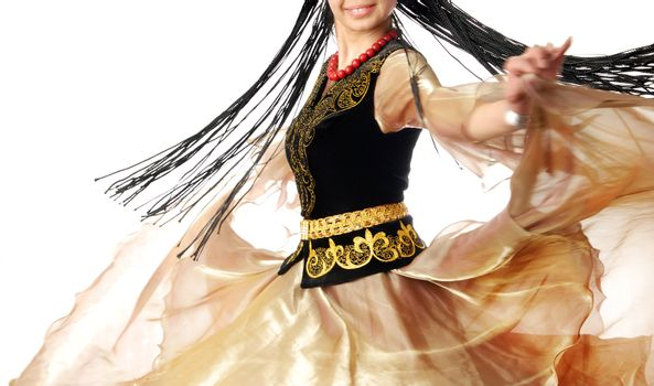 Photo of the smiling dancer in motion with long hair