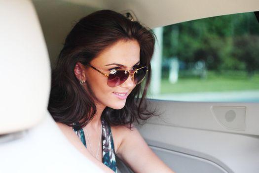 woman in car interior