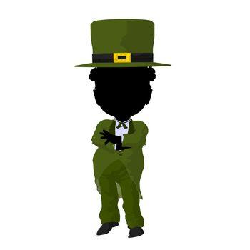 Little African American Leprechaun Girl Illustration Silhouette