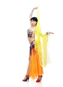 Asian lady in oriental costume dancing belly-dance