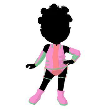 Little African American Sci Fi Girl Illustration Silhouette