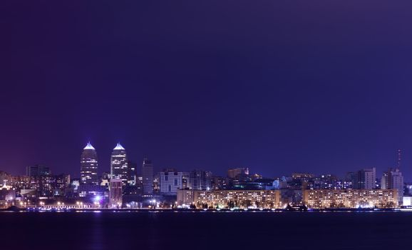 Night Skyline of Dnipropetrovsk and river Dnipro, Ukraine
