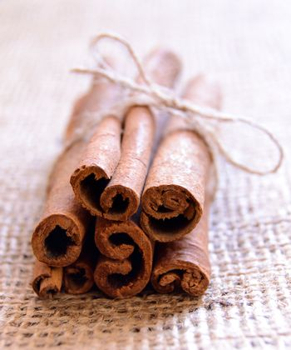 Cinnamon Sticks on Burlap Background