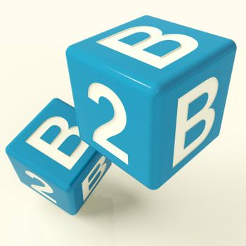 B2b Blue Dice As A Sign Of Business And Commerce
