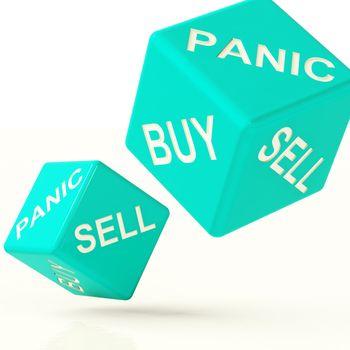 Buy Panic And Sell Blue Dice Representing Market Turmoil
