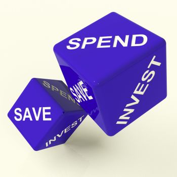 Save Spend Invest Blue Dice Showing Money Choices