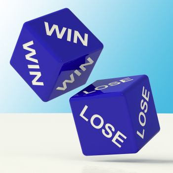 Win Lose Blue Dice Showing The Chances Of Success