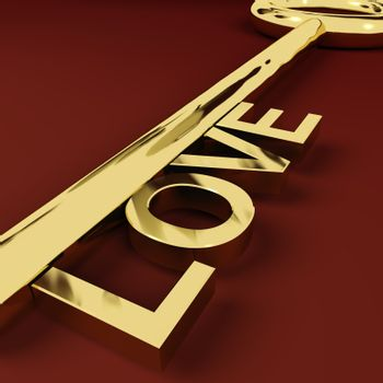 Love Gold Key Representing Adoration And Romance