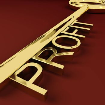 Profit Gold Key Representing Market And Trade Earnings
